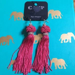 Charming Charlie red tassel earrings NWT
